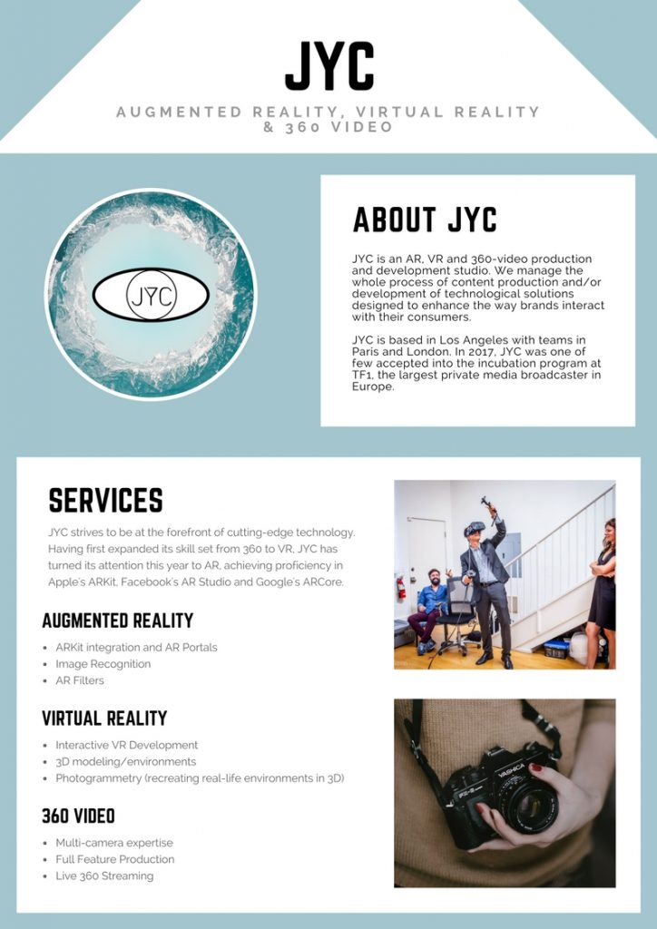 Augmented Reality Virtual Reality Development Production Studio JYC VR AR XR MR 360 Video About Services